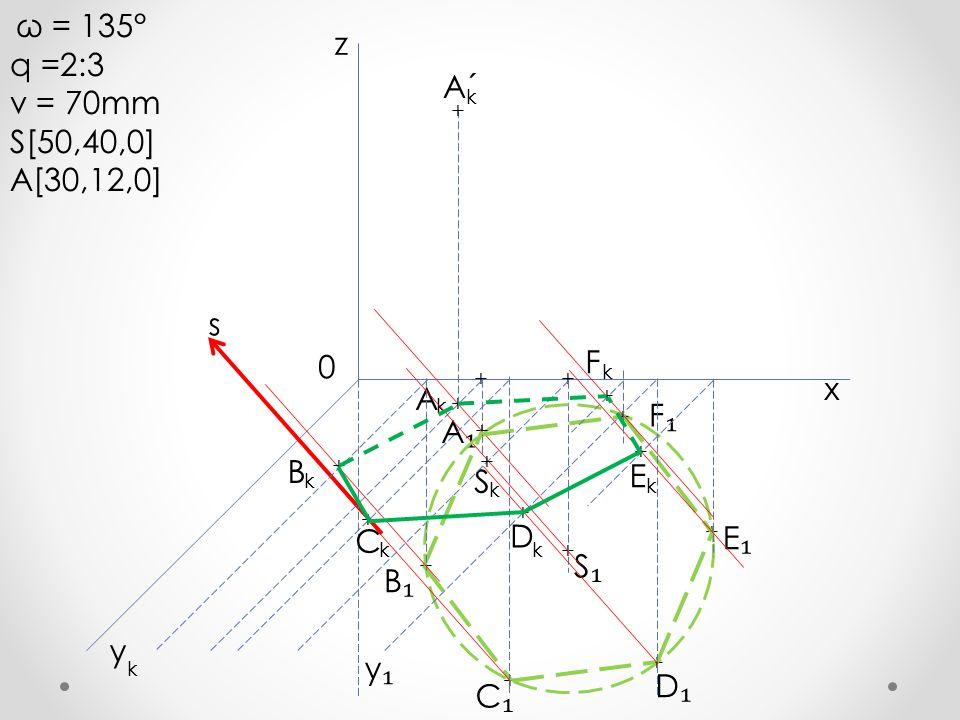 q =2:3 z v = 70mm S[50,40,0] A´ A[30,12,0] s F x A F₁ A₁ B E S D C E₁
